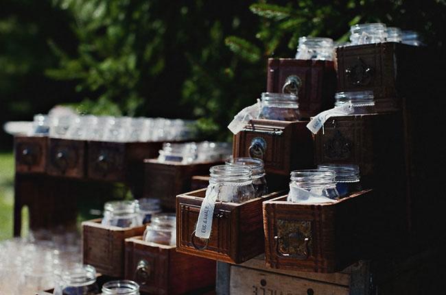 Oui Oui-botes cristal como vasos-boda rustica-campestre