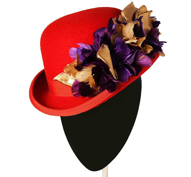 Oui Oui-tocados-boda-invierno-Bomibin fieltro rojo-hojas plumas doradas moradas-Mimoki