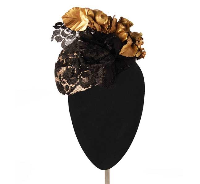 Oui Oui-tocados-boda-invierno-casquete encaje negro-hojas doradas-Mimoki