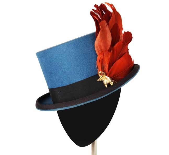 Oui Oui-tocados-boda-invierno-chistera-fieltro azul-pompon plumas-Mimoki