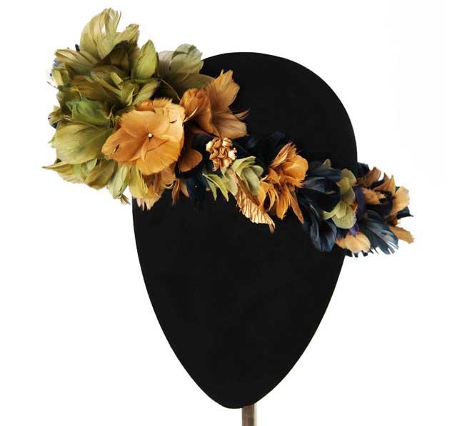 Oui Oui-tocados-boda-invierno-corona plumas-verdes y ocres-Mimoki