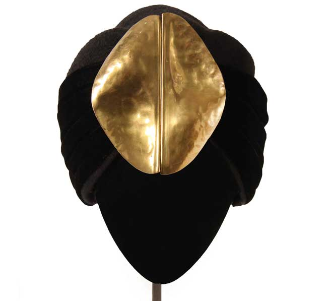 Oui Oui-tocados-boda-invierno-turbante-fieltro-hebilla dorada años 70-Mimoki