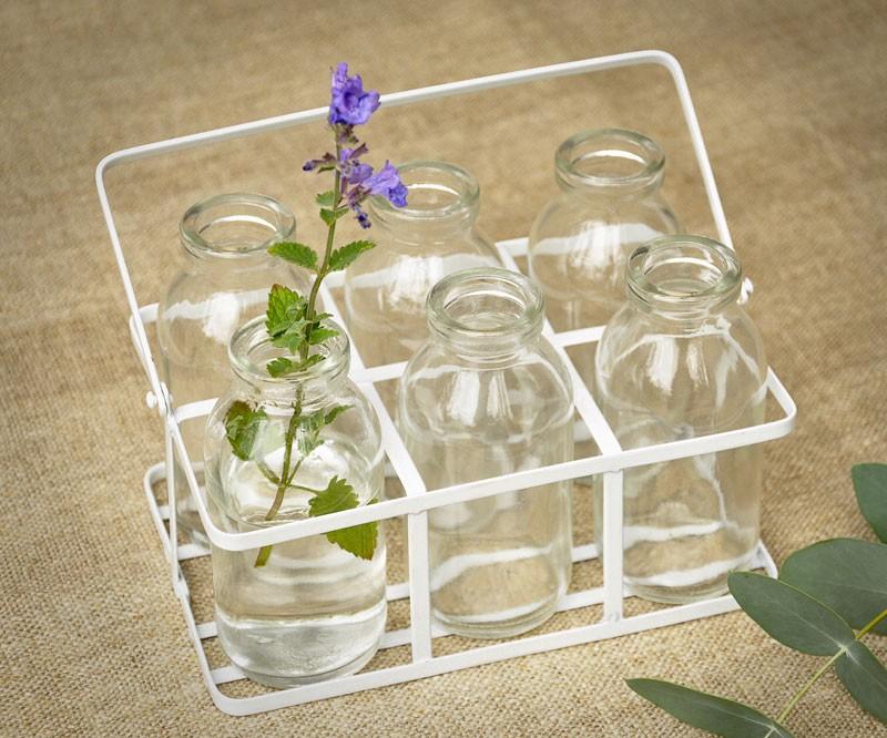 Oui Oui-botellitas cristal con soporte-botellas leche cristal-school milk-floreros pequeños