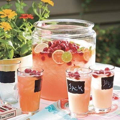 Oui Oui-ideas fiesta campo-etiquetas pizarra-botes cristal boda campestre-limonada rosa