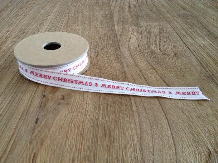 Oui Oui-cinta algodón blanca MERRY CHRISTMAS