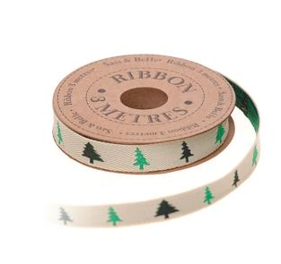 Oui Oui-cinta envolver pinos verdes navidad