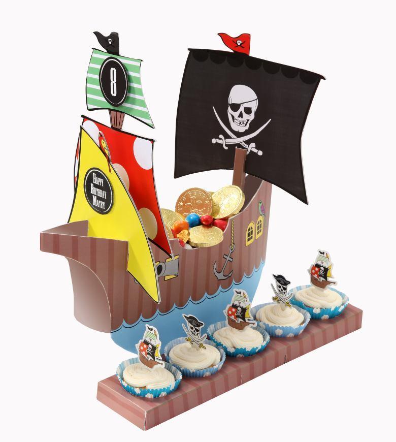 Oui OUi-barco pirata para cupcakes-stand chuces y cupakes pirata-fiesta pirata-candy bar pirata
