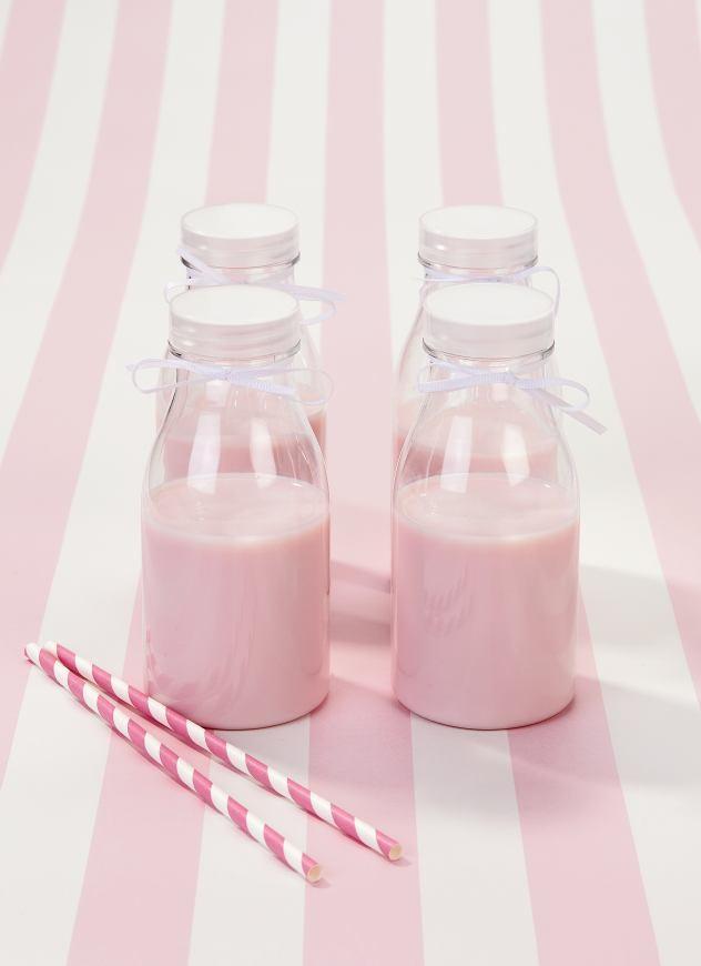 Oui Oui-botellitas leche de plástico-candy bar tonos rosas-rayas