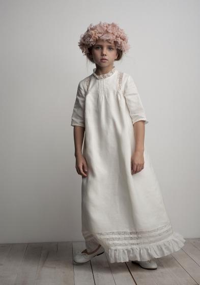 Oui Oui-vestido comunión diferente-túnica-lino-chic-largo-labube