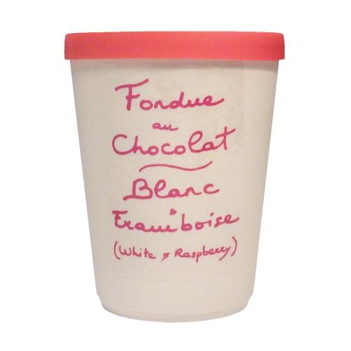Oui Oui-fondue chocolate blanco y rambuesa tarro ceramica.que llevar de cumpleaños a la oficina
