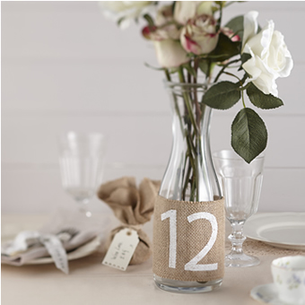 Oui Oui-meseros arpillera-numeros mesa boda para botella