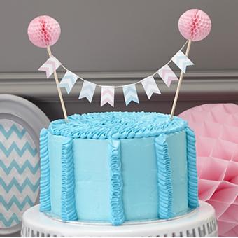 Oui Oui-topper tarta banderines chevron y honeycomb rosa