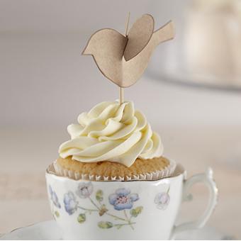 Topper cupcake pajaritos kraft