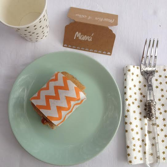 Oui Oui-fiesta cumpleñaos naranja y mint-papel chevron naranja-marca sitios kraft