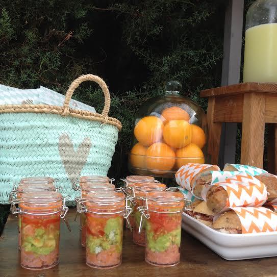 Oui Oui-fiesta cumpleñaos naranja y mint-papel envolver comida chevron-tarritos aguacate