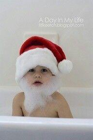 Oui Oui-ideas foto navidad bebe-niño-papa noel en el baño