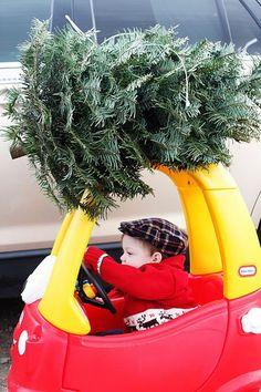 Oui Oui-niños con coche rojo y amarillo y pino encima-ideas fotos niños navidad-little tickets