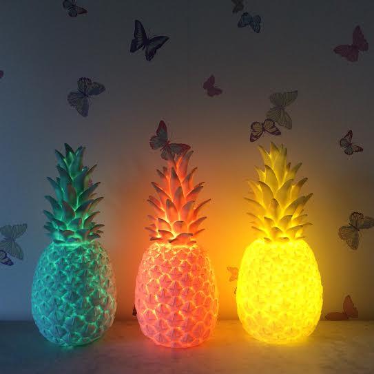 Oui Oui-piña colada lamp-goodnight light-lampara piña-mint-rosa-amarillo-luz apagada