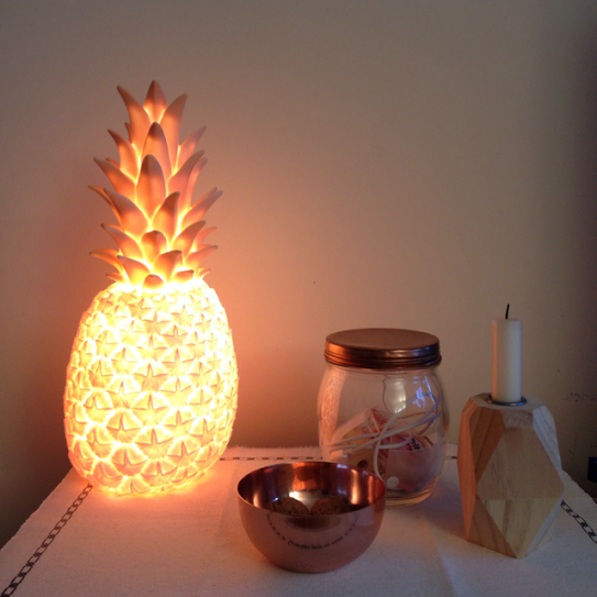 Oui Oui-piña colada lamp-goodnight light-lampara piña rosa