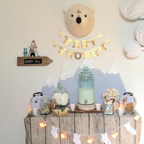 Oui Oui-babyshower de invierno-winter baby shower-baby shower esquí-cabeza oso polar peluche