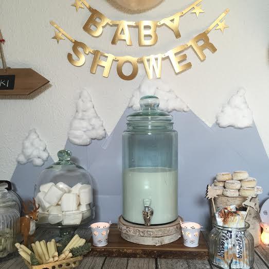 Oui Oui-babyshower de invierno-winter baby shower-baby shower esquí-dispensador bebida caliente